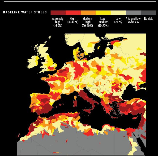 España, el 28º país más amenazado por escasez de agua del planeta, según WRI
